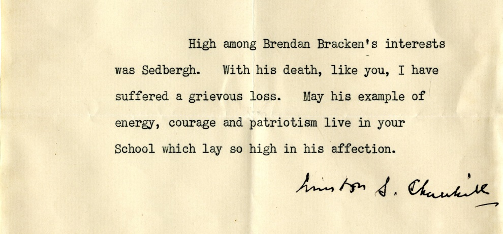 Churchill, bracken letter